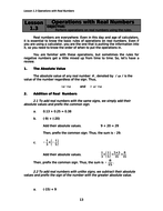 First Year Secondary Math (Real Numbers)- Content, Practice Exercises and Assessment