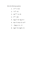 as well Logarithm Rules   ChiliMath as well Solving Exponential And Logarithmic Equations Math Solving besides 21 ly solving Exponential Equations Worksheet Graphics likewise  further Logarithm Worksheets Solving Logarithmic Equations Worksheet Elegant further  as well exponents and logarithms worksheet – fordhamitac org together with IB Math SL Worksheet on Logarithms with Working and Answers by besides  as well  as well exponential equation worksheet – gizmonut further Section 8 3 furthermore  furthermore worksheets solving exponential equations – openlayers co together with . on exponential and logarithmic equations worksheet