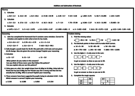 addition and subtraction of decimals problem solving mastery  addition and subtraction of decimals problem solving mastery worksheet