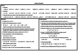 decimal problem solving worksheet