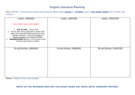 Aqa Power And Conflict Poetry Anthology Revision  Essay Planning By  Aqa Power And Conflict Poetry Anthology Revision  Essay Planning