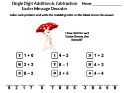 Single Digit Addition and Subtraction Easter Math Activity: Message Decoder