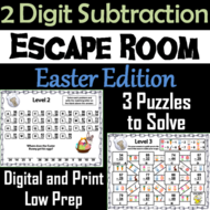 Double Digit Subtraction With and Without Regrouping: Easter Escape Room