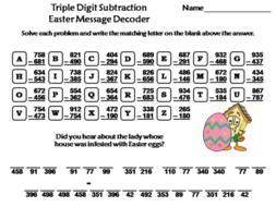Triple Digit Subtraction Easter Math Activity: Message Decoder