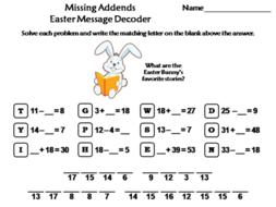 Missing Addends Easter Math Activity: Message Decoder