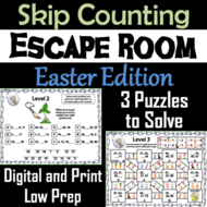Skip Counting by 2, 3, 4, 5, 10 Game: Easter Escape Room Math Activity