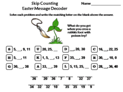 Skip Counting by 2, 3, 4, 5, 10 Easter Math Activity: Message Decoder