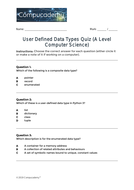 A Level Computer Science User Defined Data Types Quiz