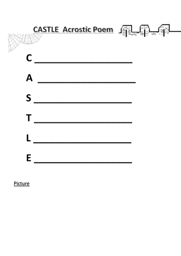 CASTLE acrostic poem frames - short/long - with examples