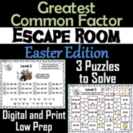 Easter Escape Room Math: Greatest Common Factor Game 4th 5th 6th 7th Grade