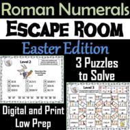 Easter Escape Room Math: Roman Numerals Game (4th 5th 6th 7th Grade)