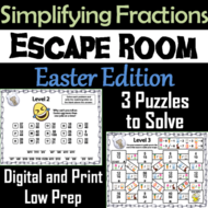 Easter Escape Room Math: Simplifying Fractions Game; 4th 5th 6th 7th Grade