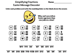 Simplifying Fractions Easter Math Activity: Message Decoder