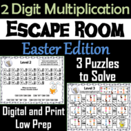 Easter Escape Room Math: Two Digit Multiplication Game (3rd 4th 5th Grade)