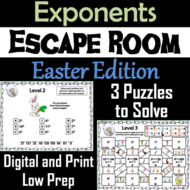 Exponents Game: Escape Room Easter Math Activity 5th 6th 7th 8th Grade