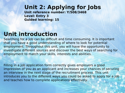 BTEC Workskills unit 3 Applying for jobs Entry Level 3
