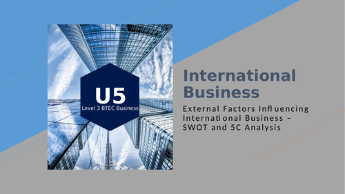 BTEC Level 3 Business: International Business - SWOT and 5C Analysis