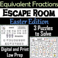 Equivalent Fractions Escape Room Easter Math Activity