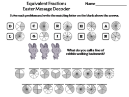 Equivalent Fractions Easter Math Activity: Message Decoder