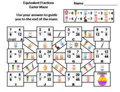 Equivalent Fractions Activity: Easter Math Maze