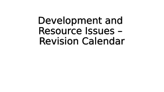 Eduqas GCSE Revision - Development and Resource Issues