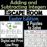 Adding and Subtracting Integers Game: Escape Room Easter Math Activity
