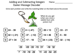 Adding and Subtracting Integers Easter Math Activity: Message Decoder