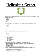Hellenistic Greece- Multiple choice, short answer, fill in the blanks worksheet/ test