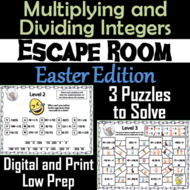 Multiplying and Dividing Integers Game: Escape Room Easter Math Activity