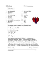 Valentinstag - Valentines Day German Worksheet