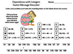 Operations with Integers Easter Math Activity: Message Decoder