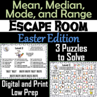Mean, Median, Mode, and Range Activity: Escape Room Easter Math Game