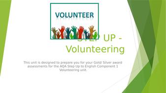 AQA STEP UP to ENGLISH - Scheme of work for Volunteering unit Component 1 Scheme of work