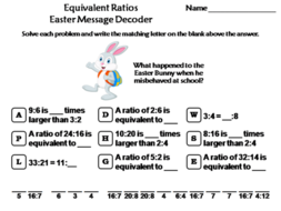Equivalent Ratios Easter Math Activity: Message Decoder