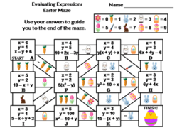 Evaluating Algebraic Expressions Activity: Easter Math Maze
