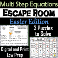Solving Multi Step Equations Game: Escape Room Easter Math Activity