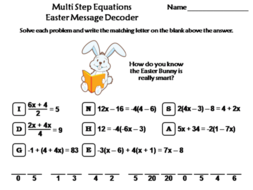 Solving Multi Step Equations Easter Math Activity: Message Decoder