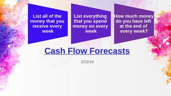 Cash Flow Forecasting: GCSE Business, VCert in Business and Enterprise, BTEC In Enterprise