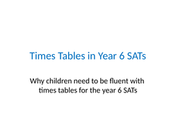 PowerPoint to demonstrate the need for times tables fluency in SATs