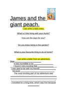 James and the giant peach worksheet