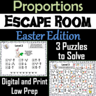 Solving Proportions Game: Escape Room Easter Math Activity