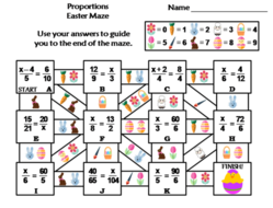 Proportions Activity: Easter Math Maze