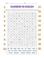 NUMBERS IN ENGLISH - WORD SEARCH PUZZLE