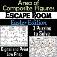 Area of Composite Figures Game: Geometry Escape Room Easter Math Activity
