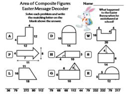 Area of Composite Figures Easter Math Activity: Message Decoder