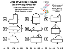 Area of Composite Figures Easter Math Activity: Message