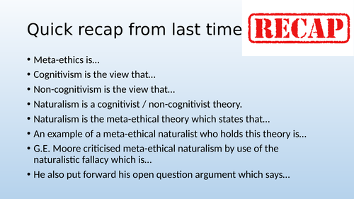 Eduqas / WJEC A Level Religious Studies - Ethics Theme 1E - Cognitvism: Intuionism / Non-Naturalism