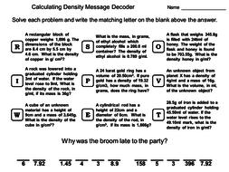 Calculating Density Worksheet: Math Message Decoder by