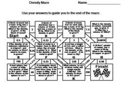 Calculating Density Maze: Physical Science/ Math