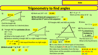 Trigonometry (SOHCAHTOA) to solve for angles
